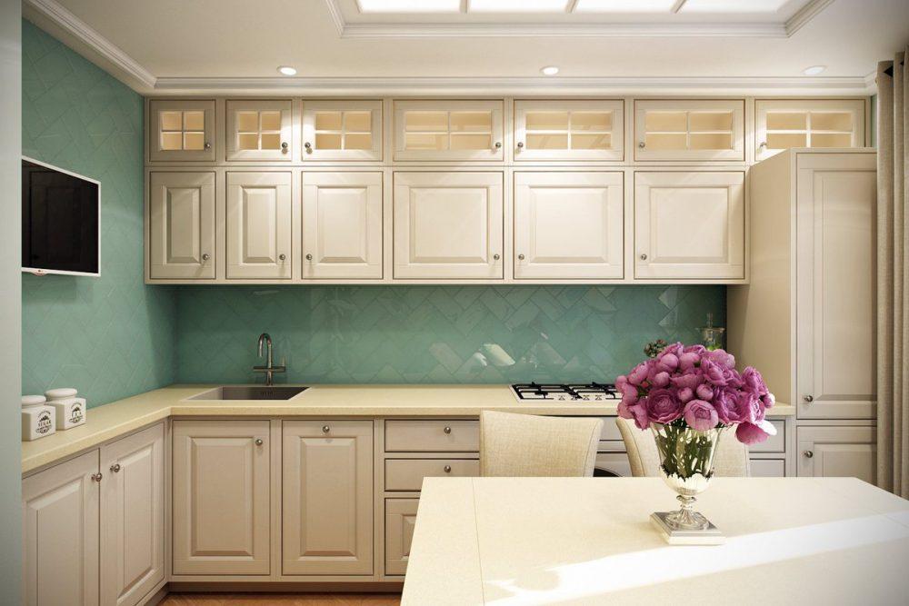 Высокие кухни с антресолями под потолок красиво и практично